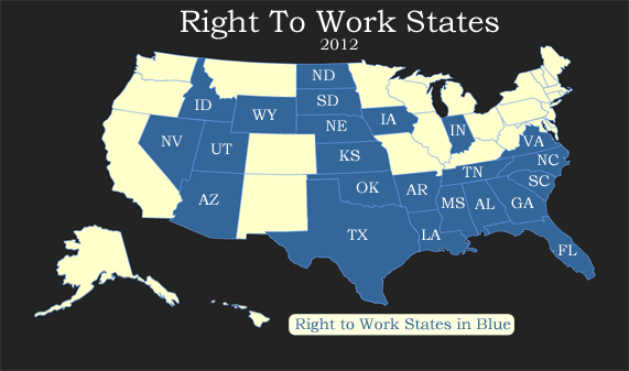 Well I Ve Got A New Map For You Today This Time From The National Right To Work Committee Showing The States Where Right To Work Isn T Just A Good Idea